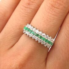 925 Sterling Silver Real Emerald Gemstone & C Z 3-Row Ring Size 7