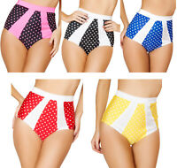 Polka Dot High Waisted Shorts Retro Pinup Style Striped Contrast Trim SH3120