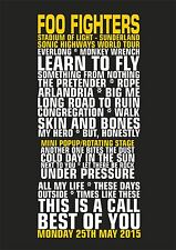 Foo Fighters Stadium Of Light Sunderland Sonic Highways Tour Set List Poster