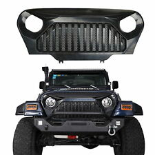 Matte Black Angry Bird Grille Built-in Mesh Inserts For Jeep Wrangler TJ 97-06