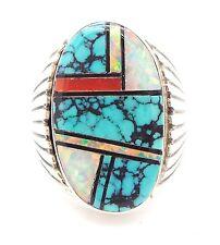 Zuni Handmade Sterling Multi-Stone Inlay Ring Size 11 - AY