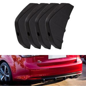 4PCS Car Rear Decor Anti-scratch Bumper Diffuser Set Shark Fin Spoiler PVC Black
