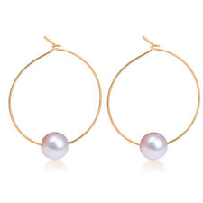 Women Charm Gold Plated Metal Pearl Circle Smooth Ear Hoop/Stud Earrings Jewelry