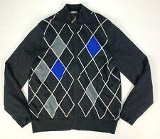 Sunice Wool Full Zip Lined Wind Stopper Argyle Golf Sweater sz L Dark Gray Blue