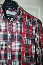 Mens GANT shirt. PATCHWORK MADRAS FITTED. Size M