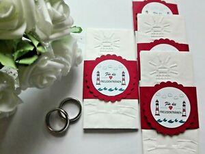 1 Taschentuch mit Banderole, Hochzeit, Freudentränen, Maritim, Leuchtturm