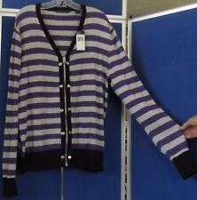 NWT $68.Trendy SEAN JOHN Zip Front SWEATER Striped PURPLE & GRAY Sz L 100% COTTO