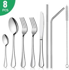 Rainbow Cutlery Set, 8 Pcs Stainless Steel Reusable Flatware Set