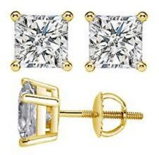 4.00 Ct Princess Cut Solitaire Diamond Earring Stud 14K Solid Yellow Gold Studs