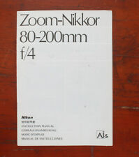 NIKON ZOOM-NIKKOR 80-200mm F/4 INSTRUCTION MANUAL/174759