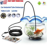 USA 7mm Android Endoscope Waterproof 6 LED Snake Borescope USB Inspection Camera