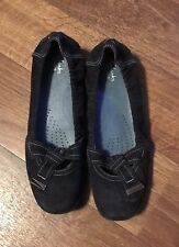 Clarks Artisian Black Suede Leather Slip On Flat Dress Shoes Size 10M
