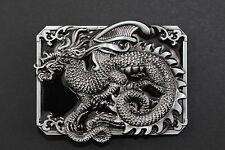 Rectangulaire Noir Dragon Chinois Boucle Ceinture Métal Calendrier Traditionnel