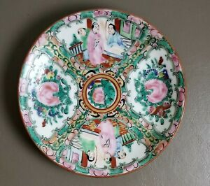 Antique Vintage Chinese Canton Rose Medallion Hand Painted Porcelain Plate
