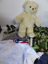 "Build A Bear 13"" Teddy with Clothes inc Army Camo Uniform - Chef Outfit - Waders"