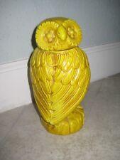 Vintage MCM Italian Italy Ceramic Yellow Owl C-180 Vase Mark Pottery With Lid