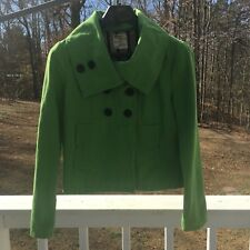 Tulle Double Breasted Green Jacket Coat Womens Medium High Collar
