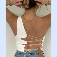 New Womens Sexy Backless Bandage Vest Tank Crop Top Summer Party Clubwear Blouse