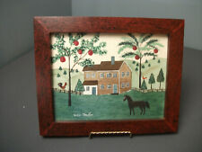 The Old Tavern Primitive Framed Watercolor - Signed Vickie L Stauffer - c mgr