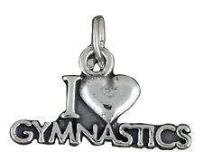 I Love Gymnastics Charm Sterling Silver Pendant Gymnast Sports Heart