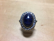 Used - Silver Ring with Blue Stone  Anillo de plata con Piedra Azul  Nº 16 tatum