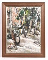 Vintage George Schwacha Oil - Board winder wood landscape expressionism Painting