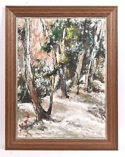 Vintage George Schwacha Oil - Board winter wood landscape expressionism Painting