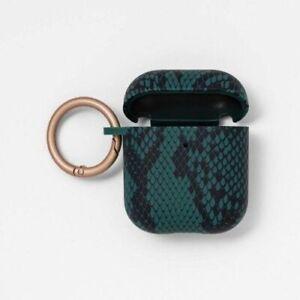 Target Heyday AirPod Hard Shell Case Green Snake Skin Print Carabiner
