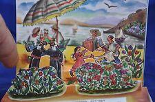 50's  VINTAGE 3d ISRAEL JEWISH NEW YEAR SHANA TOVA GREETING CARD Kinneret Galile