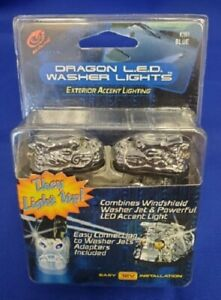 UNIVERSAL DRAGON WINDSHIELD WASHER ACCENT LIGHT LIGHTS JET SPRAY NOZZLE BLUE LED