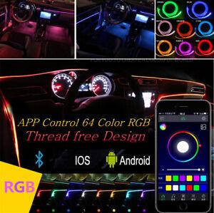5 LED Wireless Car Inside Ambient Light Lamp APP Control 64 Colors Optic Fiber