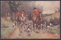 Fox Hunting. The Hunt Searching for the Scent in a Country Lane. 1923 Postmarked
