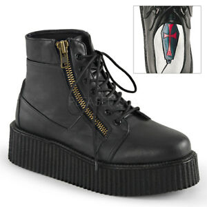 Demonia V-CREEPER-571 Black Platform Lace-Up Ankle Bootie Exposed Zipper Shoes