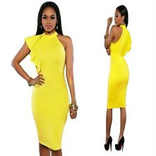 Sz 10 12 Sleeveless Yellow Ruffle Midi Sexy Cocktail Party Dance Slim Fit Dress