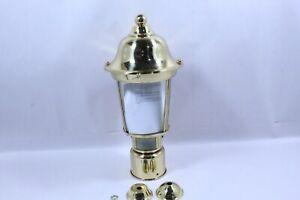 Polished Brass Color Motion Sensor Outdoor Post Lantern, 13'' H Post Light