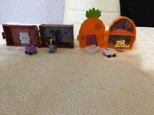 Spongebob squarepants mini pineapple house and crusty crab with figures