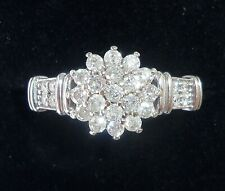 9ct White Gold 0.50ct Diamond Cluster Ring, Size O