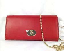 COACH CROSSGRAIN SLIM ENVELOPE WITH CHAIN WALLET RED F57136 NWT