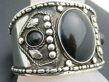 "$14 Nordstrom Black Cab Cuff Bracelet Antiqued Silvertone Metal 1 1/2"" Wide"