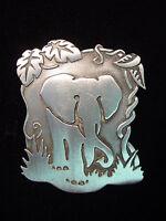 """""""JJ"""" Jonette Jewelry Matte Silver Pewter 'ELEPHANT in Jungle Scene' Pin"""