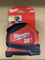 Milwaukee 48-22-6625 25-FT Heavy Duty Compact Tape New Measure 9' STANDOUT