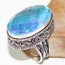 Handmade Rainbow Mystical Fire Topaz 925 Sterling Silver Ring Size: 8.5 #R00058