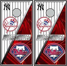 New Yyork Yankees & Phillies hd 0710 cornhole board wraps stickers