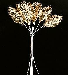 12 Gold Fabric Iridescent Leaves