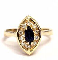 14k yellow gold .15ct SI1 H womens diamond sapphire ring 3.5g estate vintage