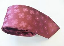 Burgundy With A Floral Design Slim Silk Mens Tie