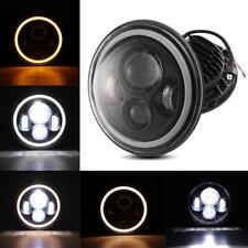 "Black 7"" Inch Round LED Headlights Halo Angle Eyes For Jeep Wrangler JK LJ TJ CJ"