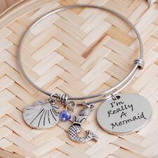 Adjustable Bangle Charm Bracelet Mermaid Beach Ocean Shell Nautical Gift