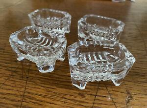 4 Vintage Salt Cellars Cut Glass Footed, Individual Dip Dish,  Rectangular