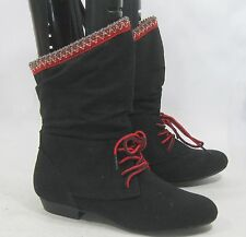 Black Half Inch Heel Pointy Toe Lace Up Red Trim Sexy Ankle Boots Size 7